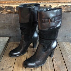 Connie Leather & Suede Slouch Boots